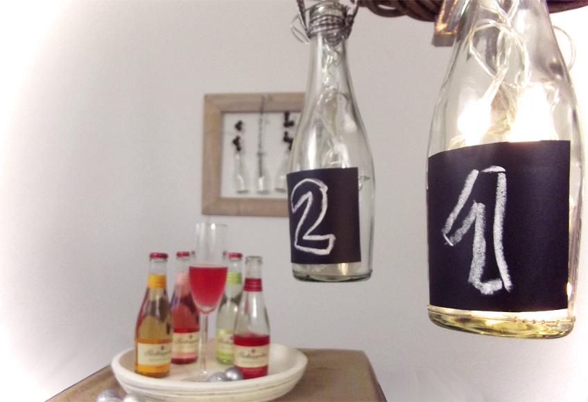 DIY Adventskranz Deko mit Flaschen Rotkäppchen