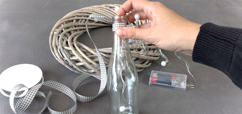 DIY Adventskranz Fruchtsecco Flaschen Deko