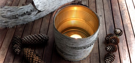 DIY Windlicht mit Birkenrinde und Konservendose