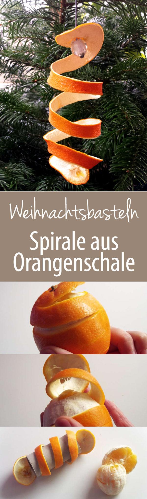 Weihnachtsbasteln Spirale aus Orangenschale DIY