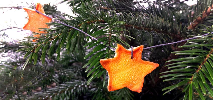 Sterne aus Orangen DIY Weihnachtsbaumdeko