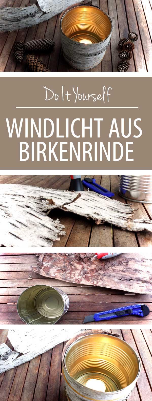 DIY Windlicht aus Birkenrinde