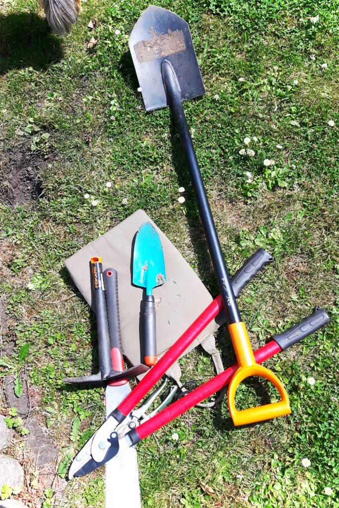 Gartengeräte zum Baumwurzel ausgraben