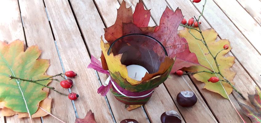 DIY Herbstdeko mit Blättern