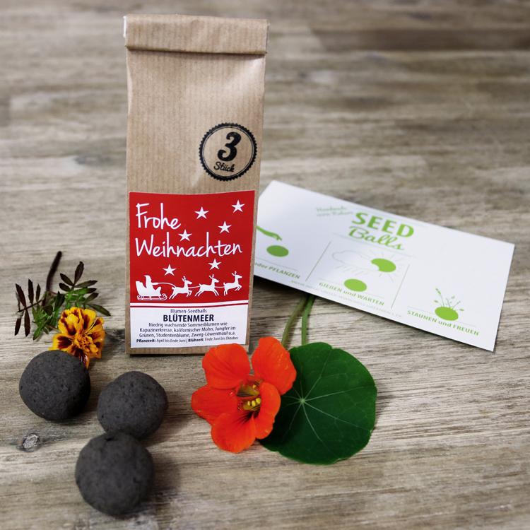 Seedballs Weihnachts-Edition Blumen-Seedbombs von MISS GREENBALL - Frohe Weihnachten Blütenmeer