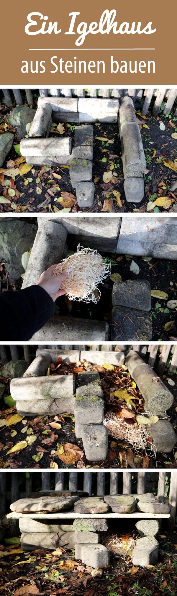 Igelhaus bauen aus Steinen