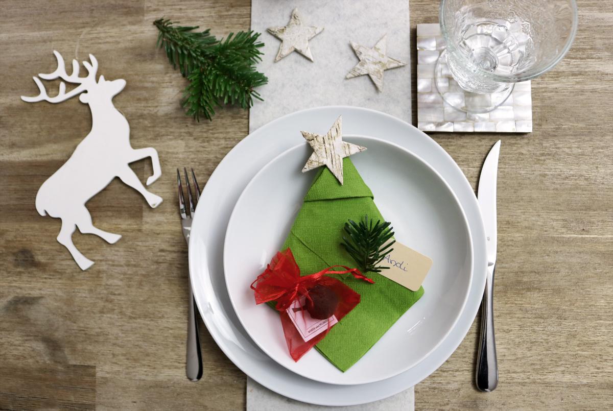 Tischdeko Weihnachten mit Tannenbaumserviette, Rentier, Seedballs