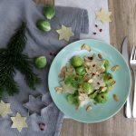 Nudeln mit Rosenkohl, Berberitze, Salz-Karamell-Mandeln