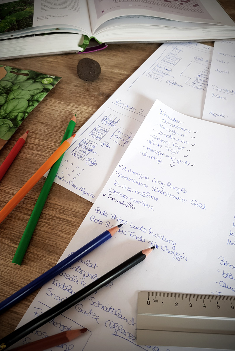 Aussaaten und Gartenplanung im Gemüsegarten