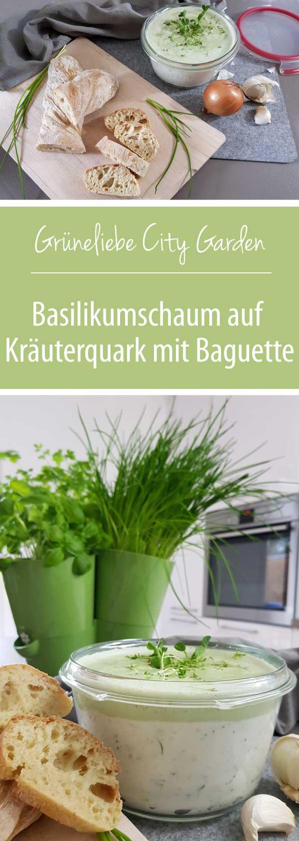 Basilikumschaum-aus-Kräuterquark-mit-Baguette