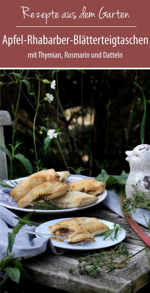 Apfel-Rhabarber-Blätterteigtaschen mit Datteln, Thymian und Rosmarin