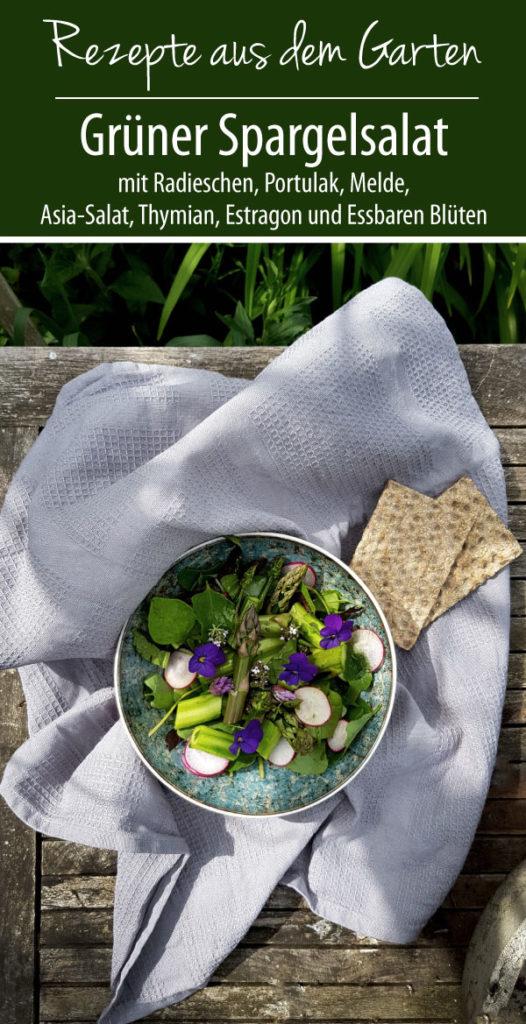 Grüner Spargelsalat mit Radieschen, Portulak, Melde, Asia-Salat, Thymian, Estragon und Essbaren Blüten