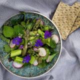Grüner Spargelsalat mit Radieschen und Essbaren Blüten