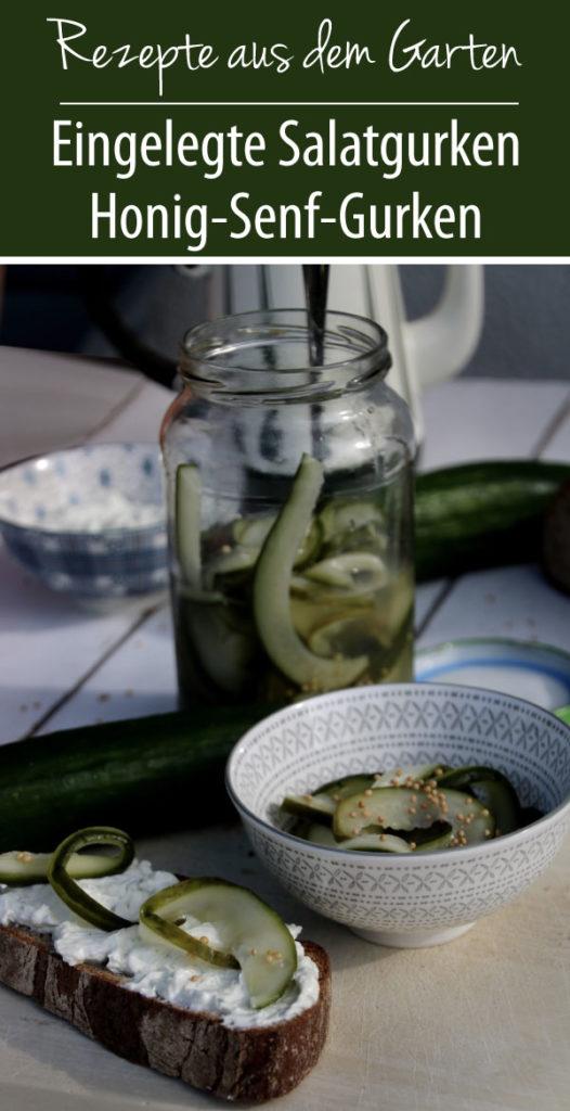 Eingelegte Salatgurke Honig-Senf-Gurken
