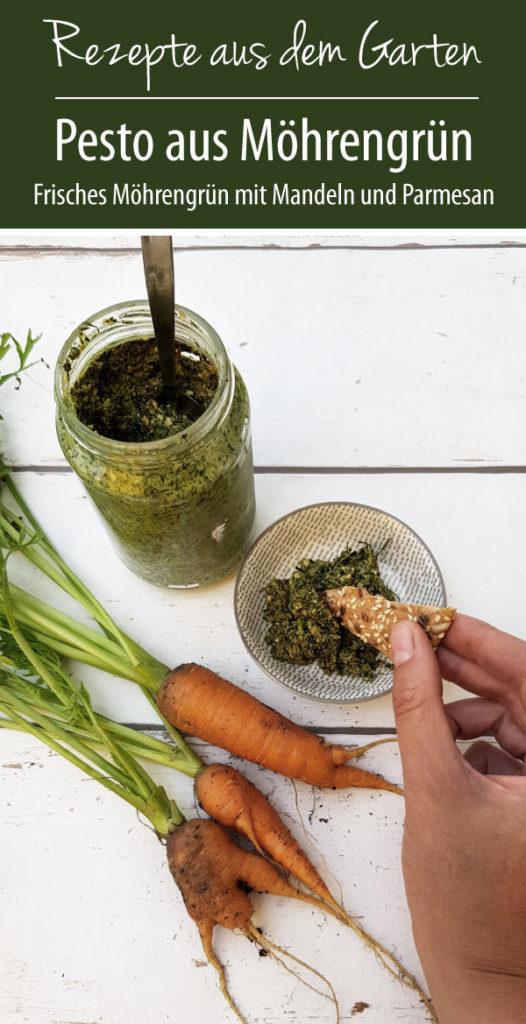 Rezepte aus dem garten - Pesto aus Möhrengrün mit Mandeln und Parmesan