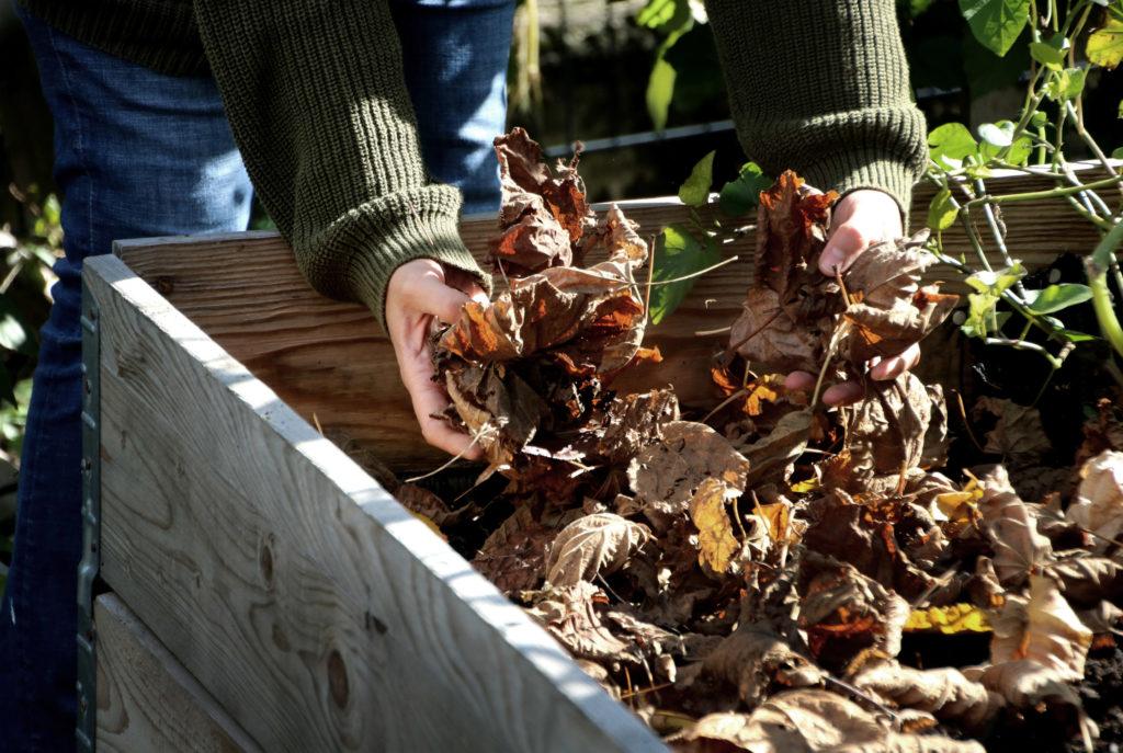 Hochbeet winterfest machen - Laubschicht zur Bodenabdeckung