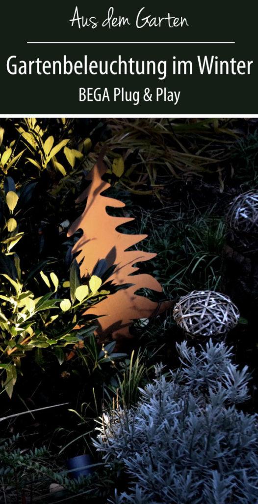 Gartenbeleuchtung im Winter BEGA Plug & Play Winter