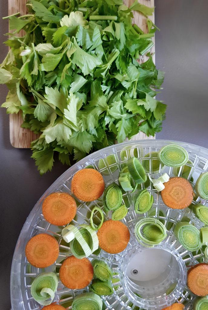 Selbstgemachte Gemüsebrühe mit frischem Gemüse aus dem Garten