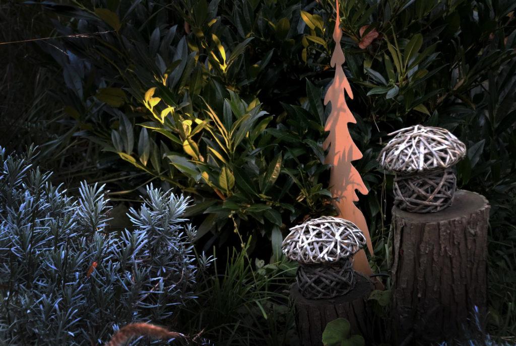 Kirschlorbeer beleuchten im Winter