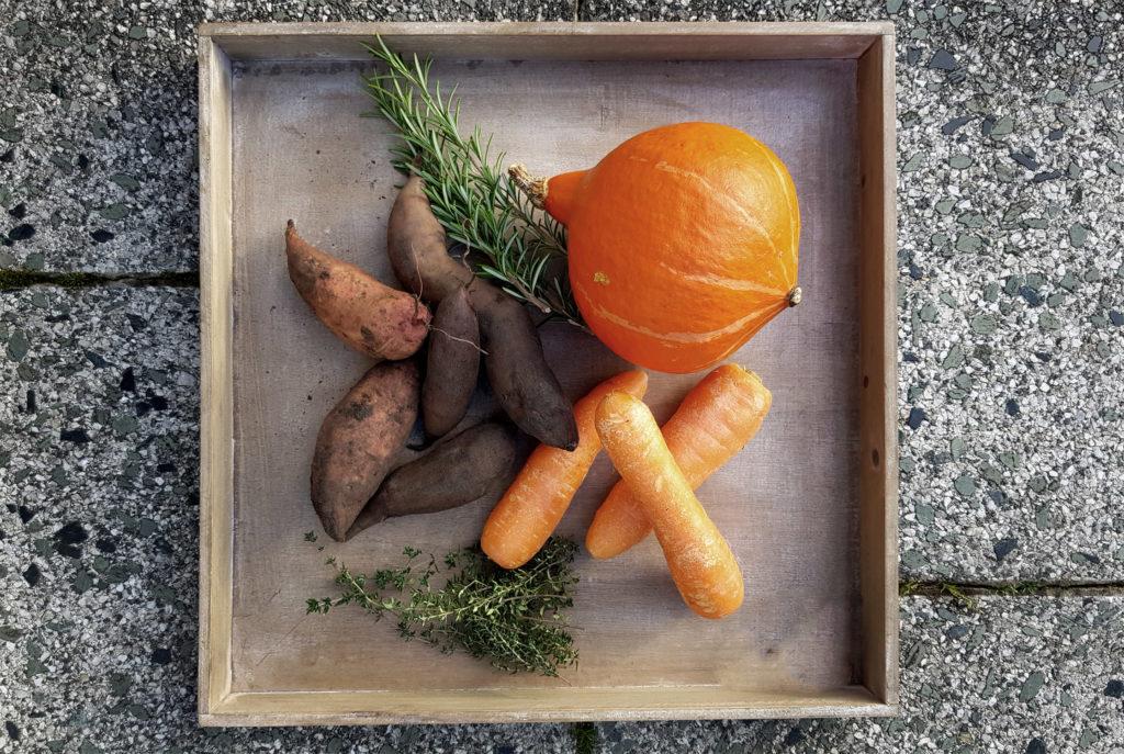 Yacon, Kürbis, Möhren und Süßkartoffel