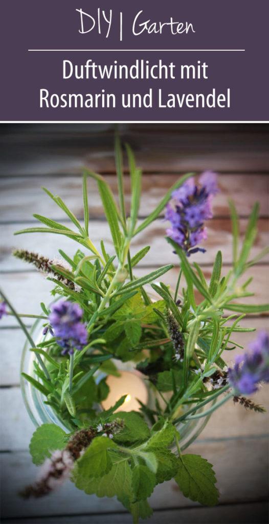 Duftwindlicht mit Rosmarin und Lavendel DIY