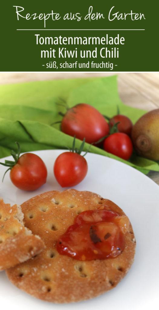 Tomatenmarmelade mit Kiwi und Chili, süß, scharf und fruchtig