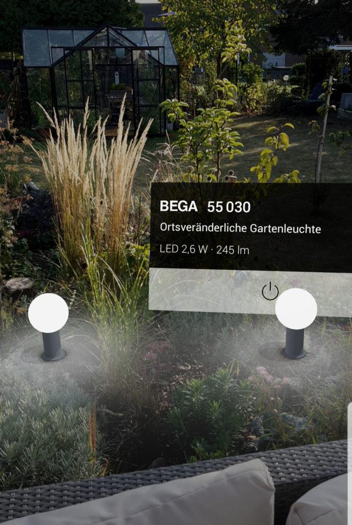 App BEGA AR+ Lichtplanung im Garten