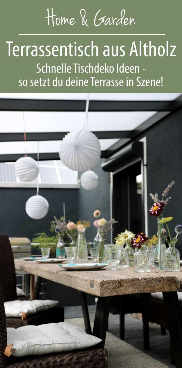 Terrassentisch stimmungsvoll decken mit einfachen Dingen